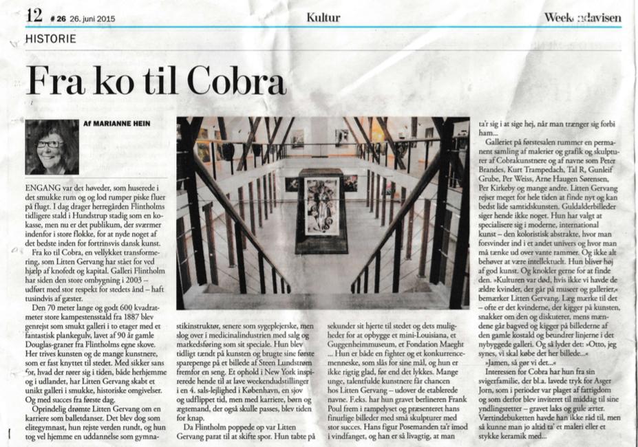 Artikel i Weekendavisen under kultur den 26. juni 2015 af journalist Marianne Hein