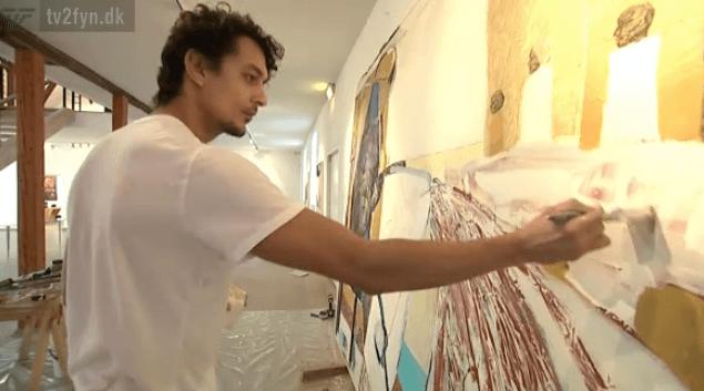 TV indslag med maleren Kamil Franko