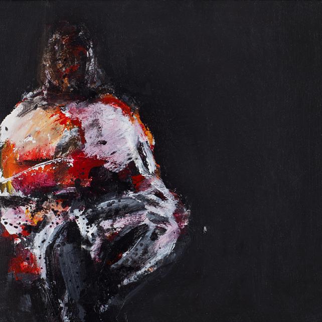 "Gunleif Grube, maleri 2016, ""Venterum"", 30 X 30 cm, 7.500 kr."